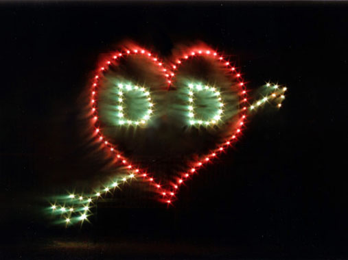 pyrotechnic services - initials in heart